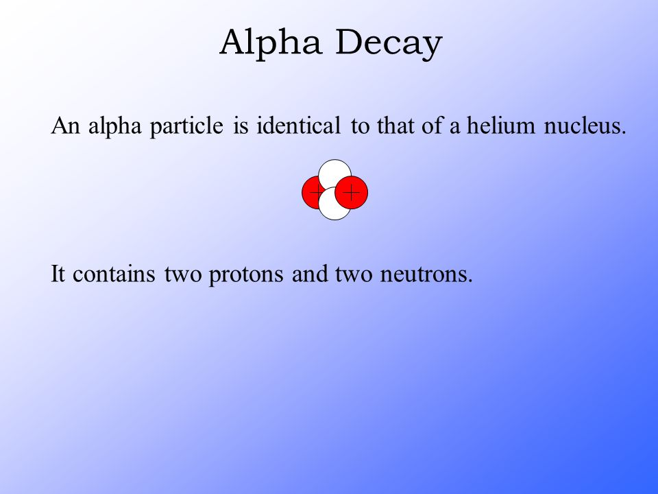 Alpha Decay An alpha particle is identical to that of a helium nucleus.