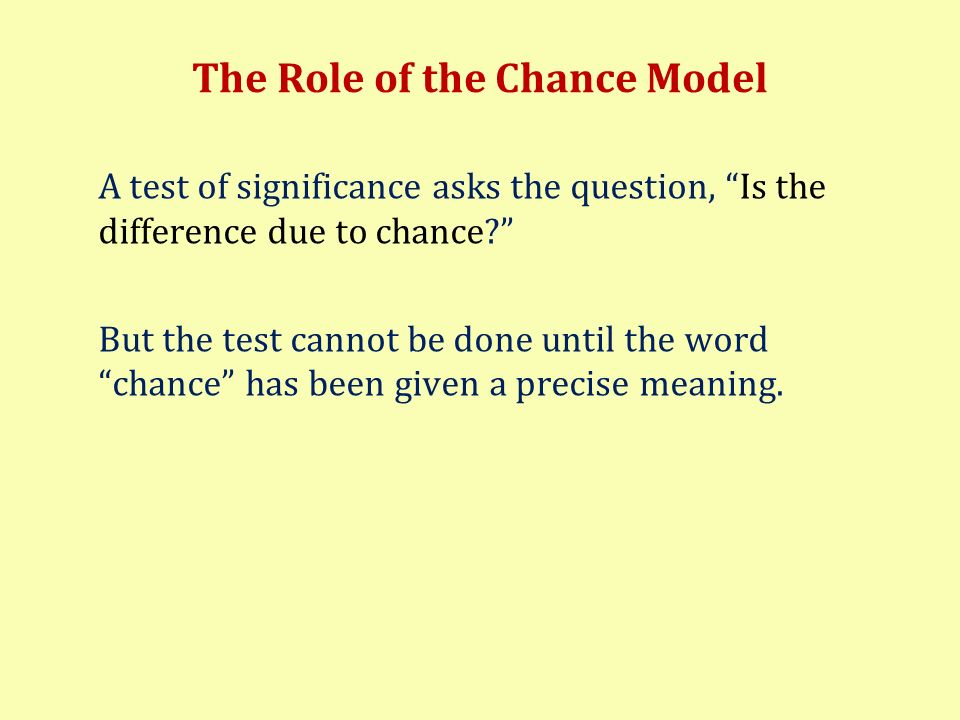 The Role of the Chance Model