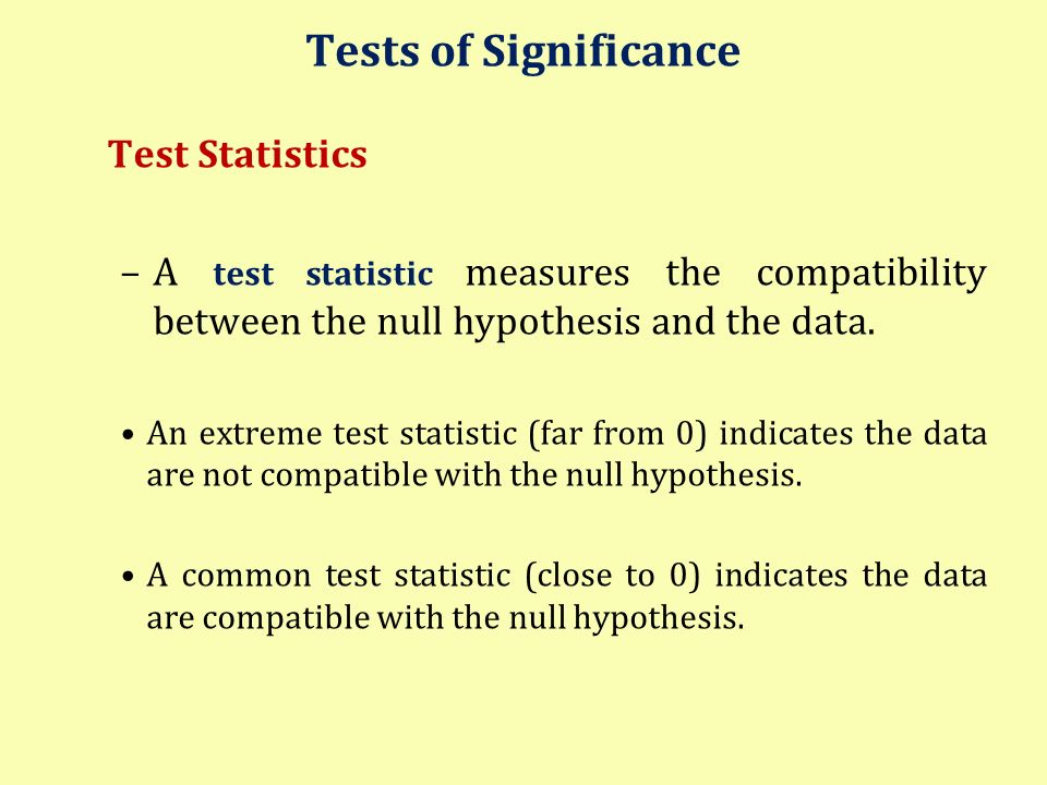 Tests of Significance Test Statistics
