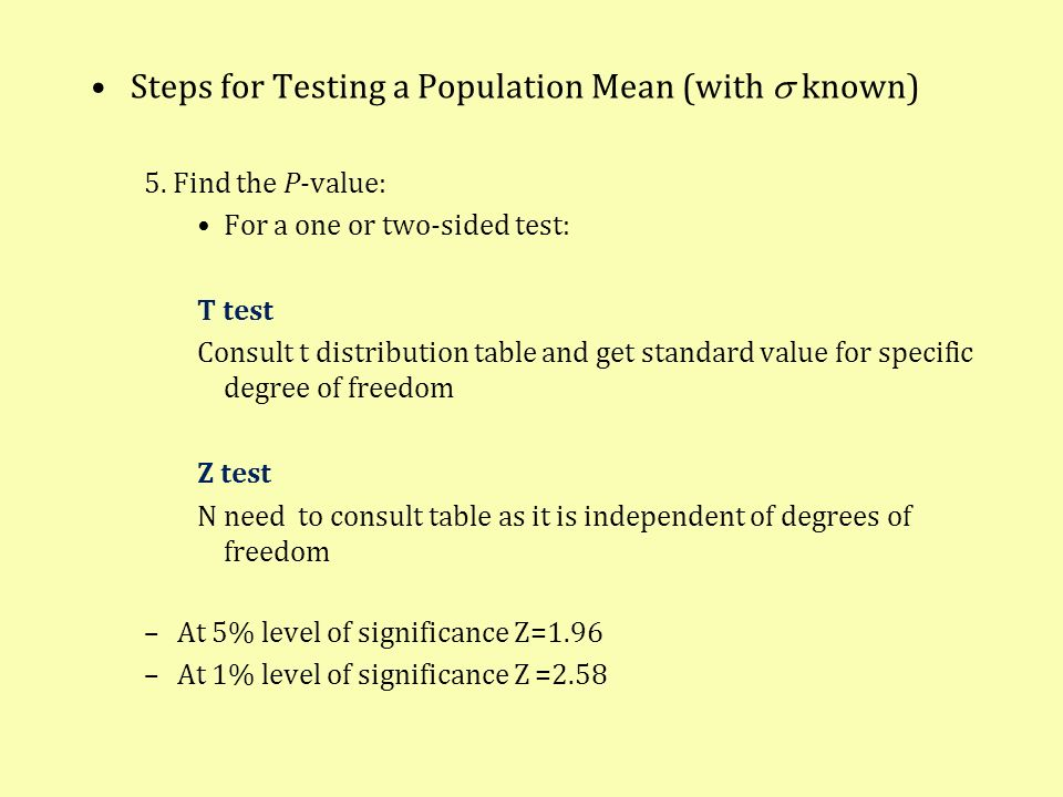 Steps for Testing a Population Mean (with s known)