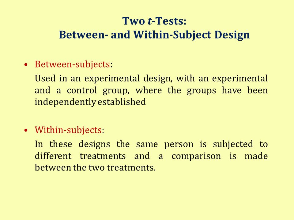 Two t-Tests: Between- and Within-Subject Design