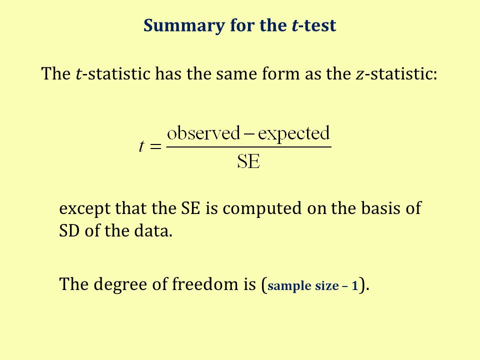 Summary for the t-test The t-statistic has the same form as the z-statistic: except that the SE is computed on the basis of SD of the data.