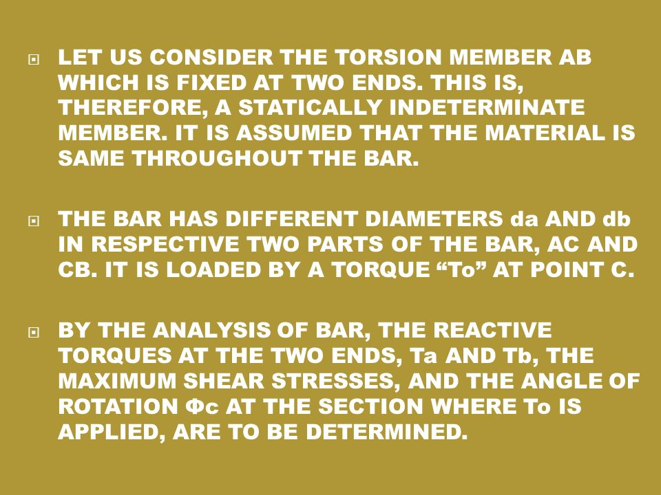 LET US CONSIDER THE TORSION MEMBER AB WHICH IS FIXED AT TWO ENDS