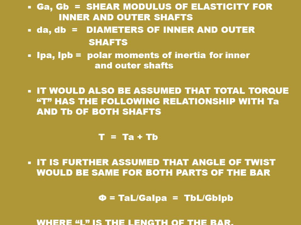 Ga, Gb = SHEAR MODULUS OF ELASTICITY FOR INNER AND OUTER SHAFTS