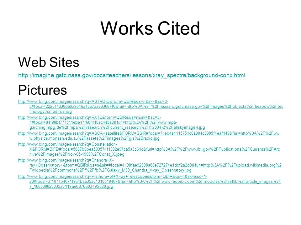 Works Cited Web Sites Pictures