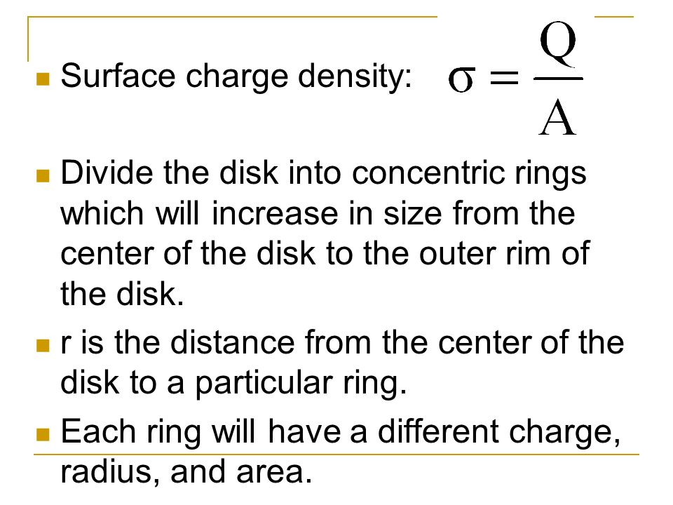 Surface charge density: