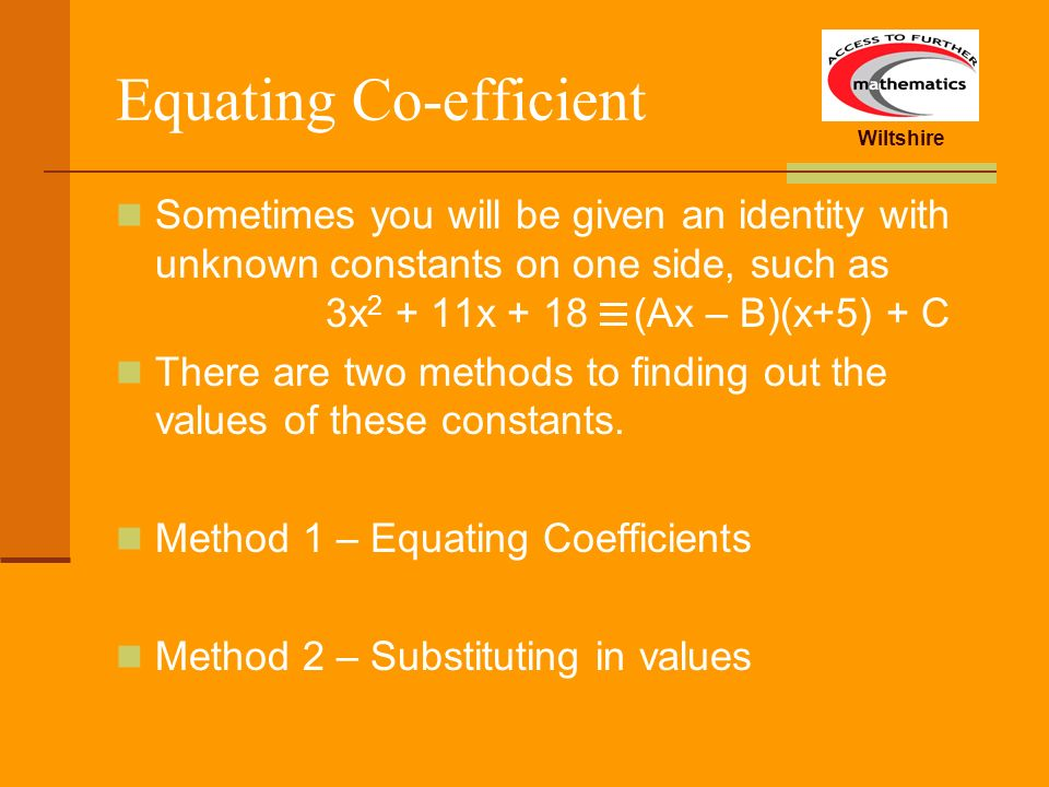 Equating Co-efficient