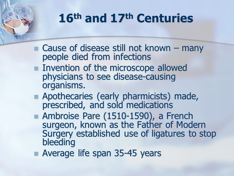 16th and 17th Centuries Cause of disease still not known – many people died from infections.