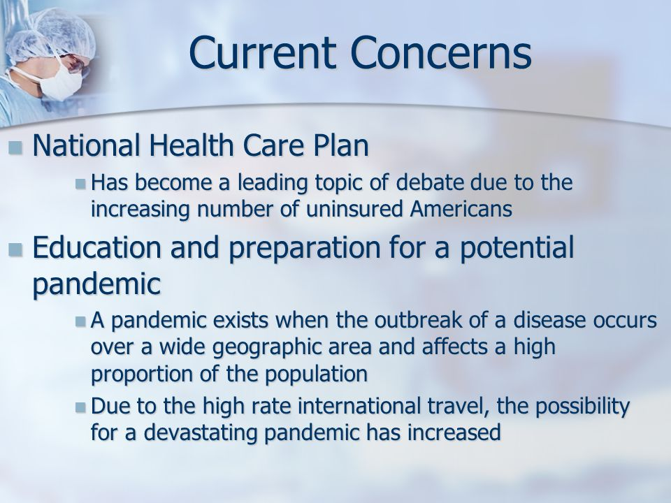 Current Concerns National Health Care Plan
