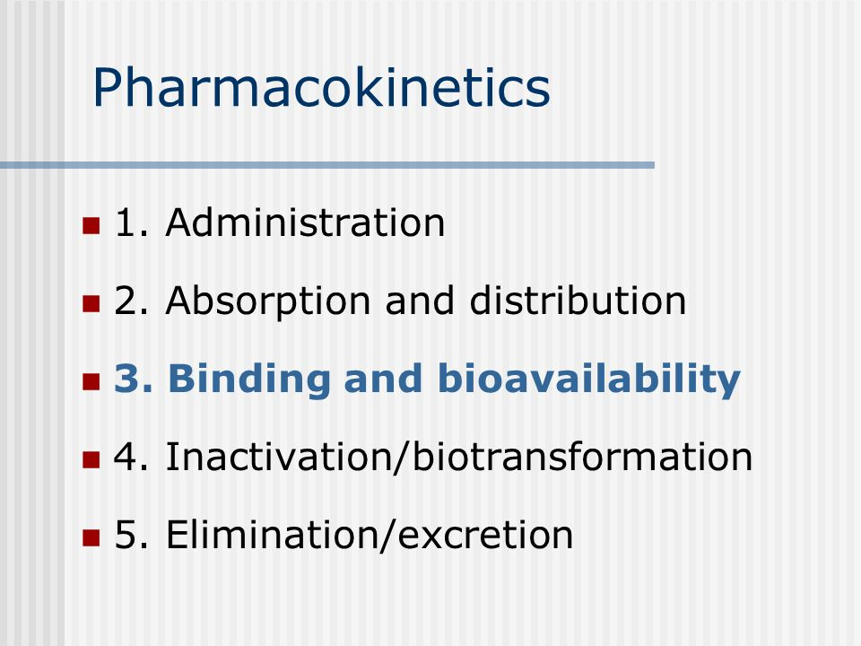 Pharmacokinetics 1. Administration 2. Absorption and distribution