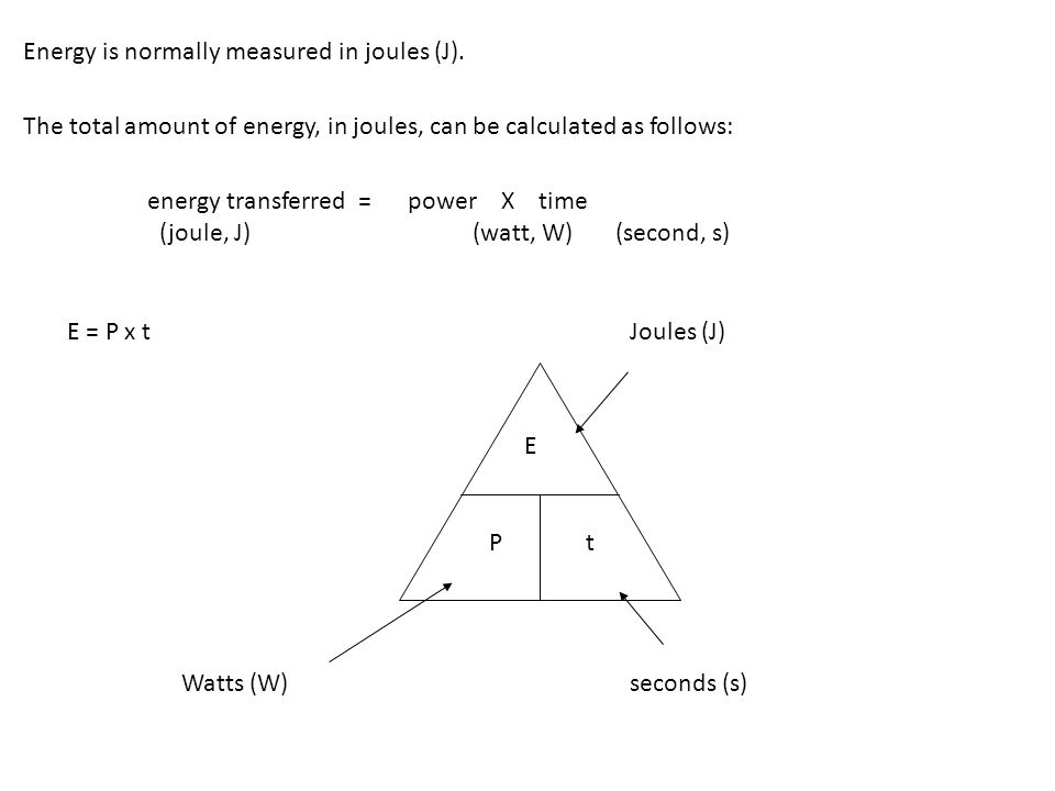 Energy is normally measured in joules (J).
