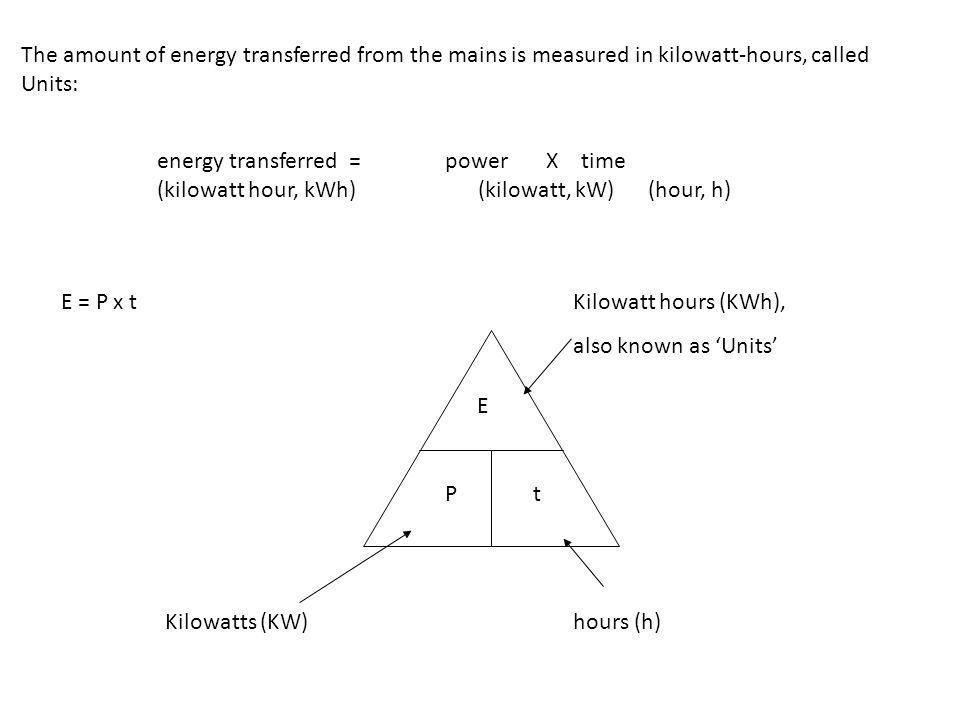 The amount of energy transferred from the mains is measured in kilowatt-hours, called Units:
