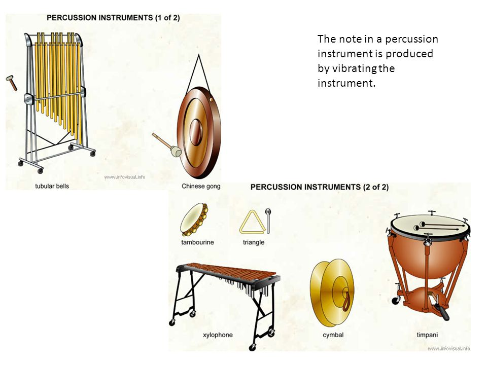 The note in a percussion instrument is produced by vibrating the instrument.