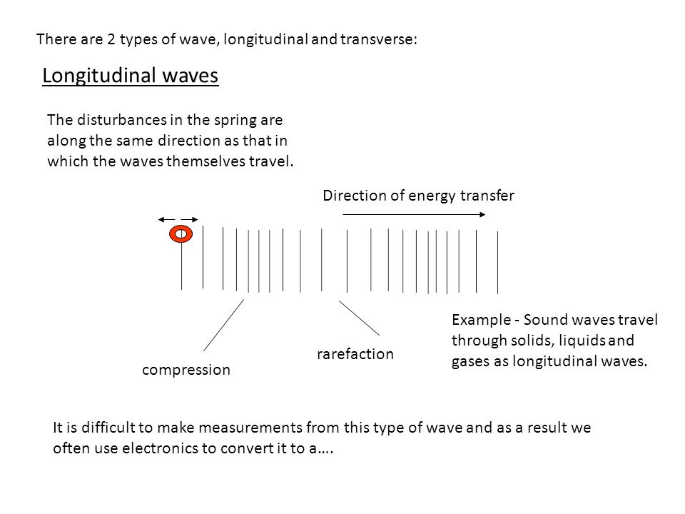There are 2 types of wave, longitudinal and transverse: