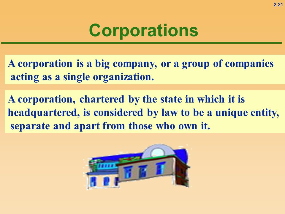 Corporations A corporation is a big company, or a group of companies