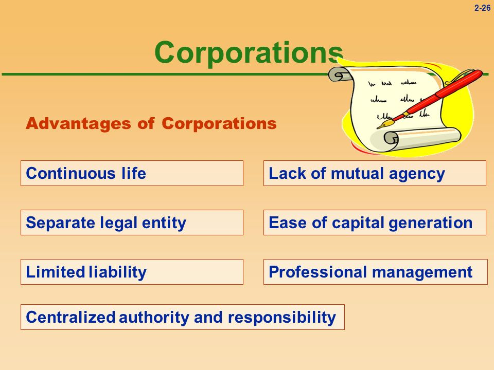 Corporations Advantages of Corporations Continuous life