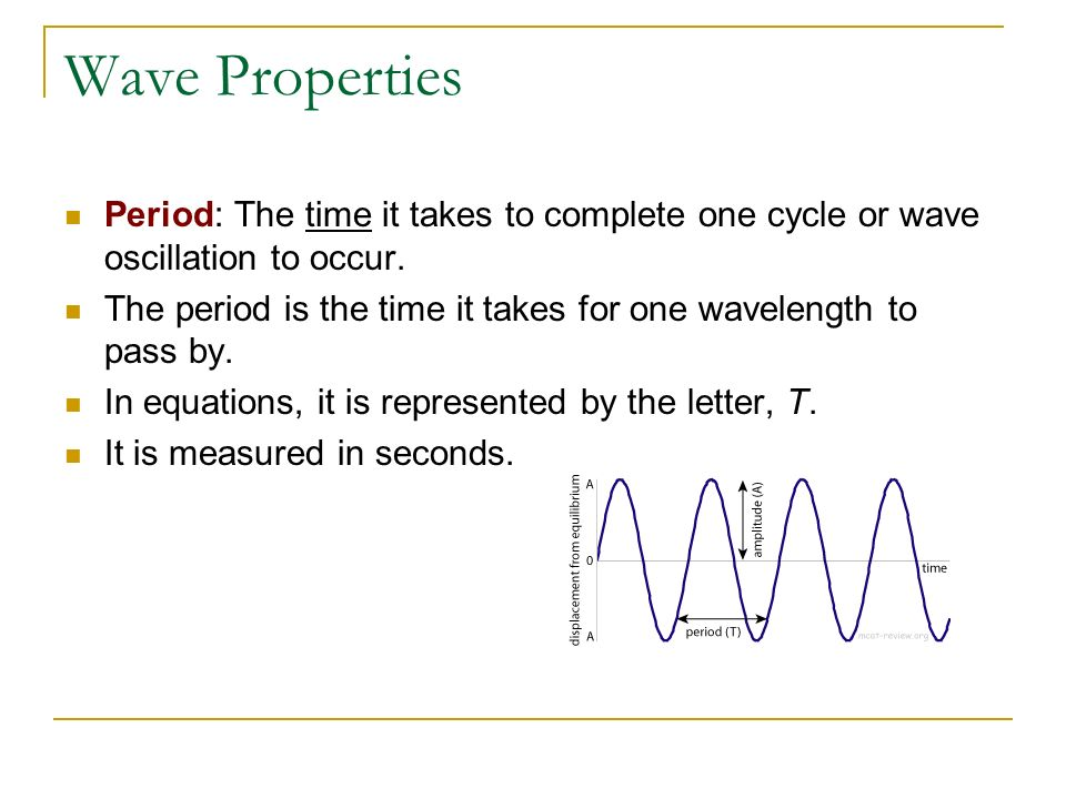 Wave Properties Period: The time it takes to complete one cycle or wave oscillation to occur.