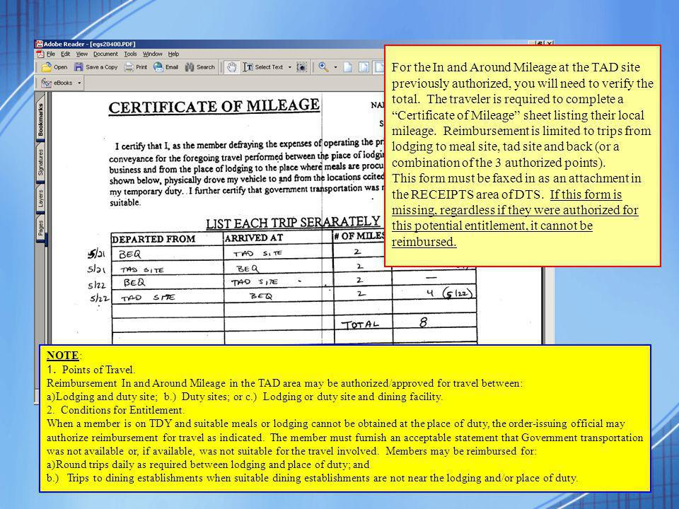 In And Around Mileage Worksheet For Dts - in and around mileage ...