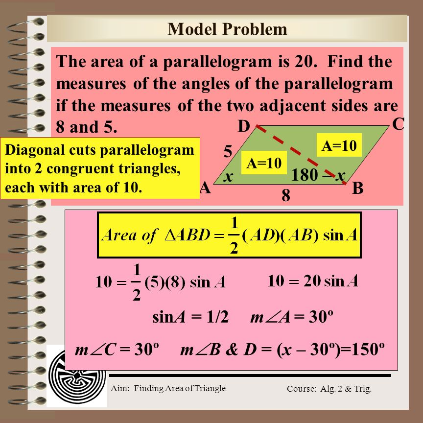 The area of a parallelogram is 20. Find the