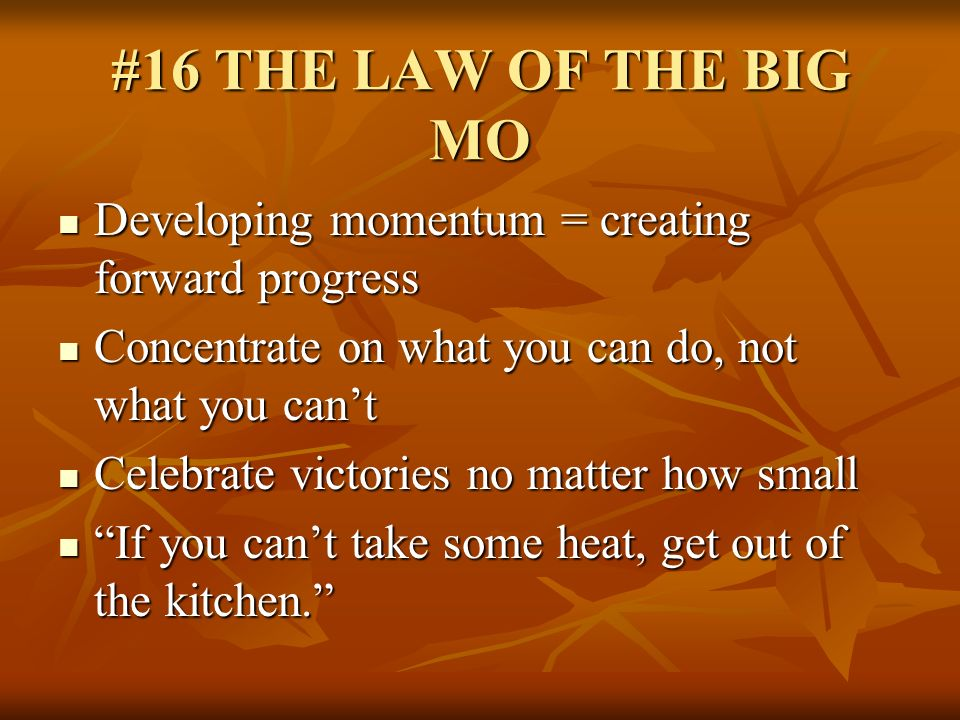 #16 THE LAW OF THE BIG MO Developing momentum = creating forward progress. Concentrate on what you can do, not what you can't.