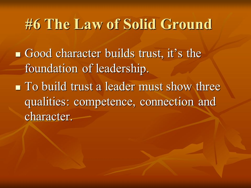 #6 The Law of Solid Ground