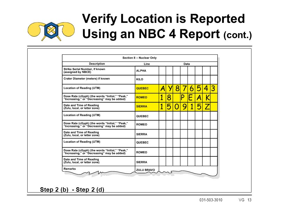 Verify Location is Reported Using an NBC 4 Report (cont.)