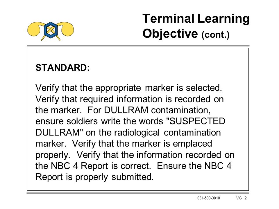 Terminal Learning Objective (cont.)