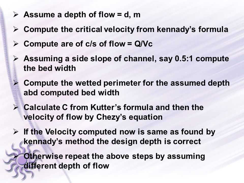 Assume a depth of flow = d, m