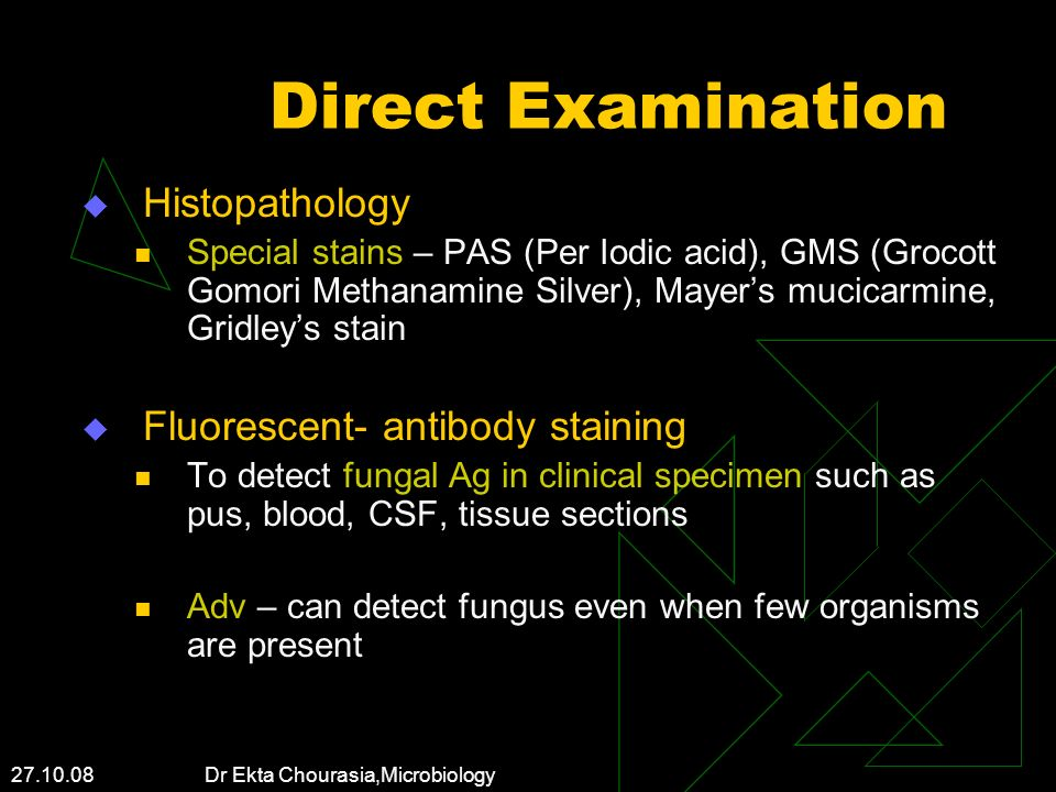 Direct Examination Histopathology Fluorescent- antibody staining