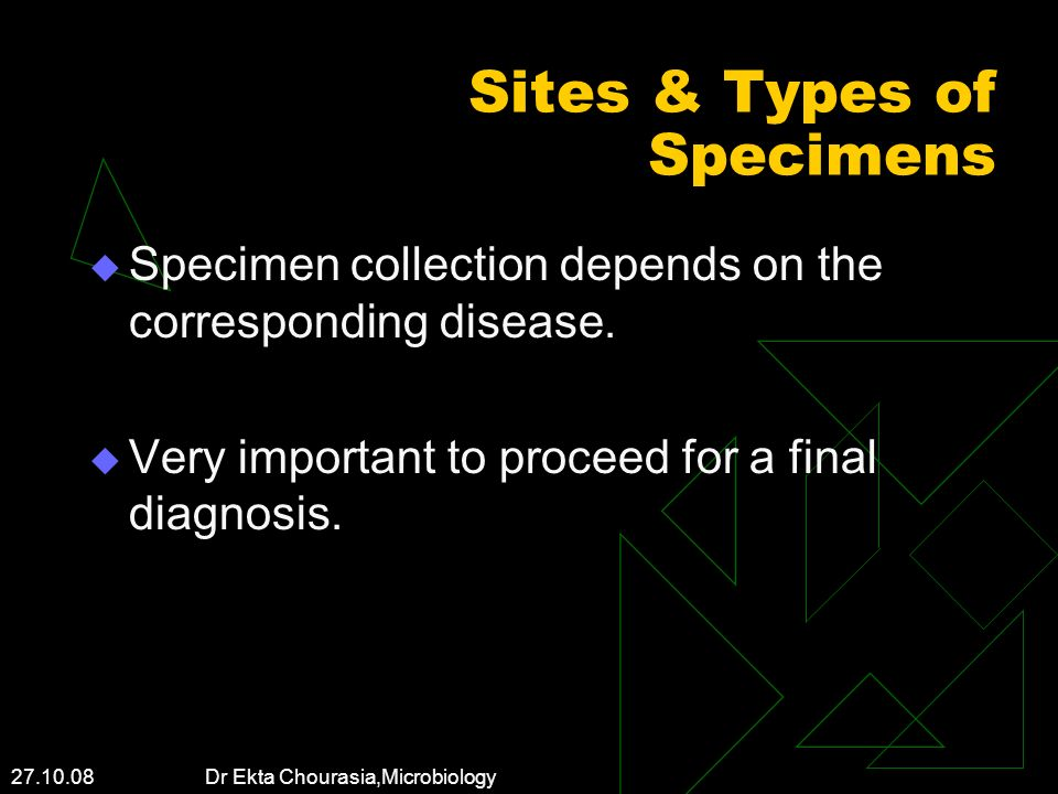 Sites & Types of Specimens