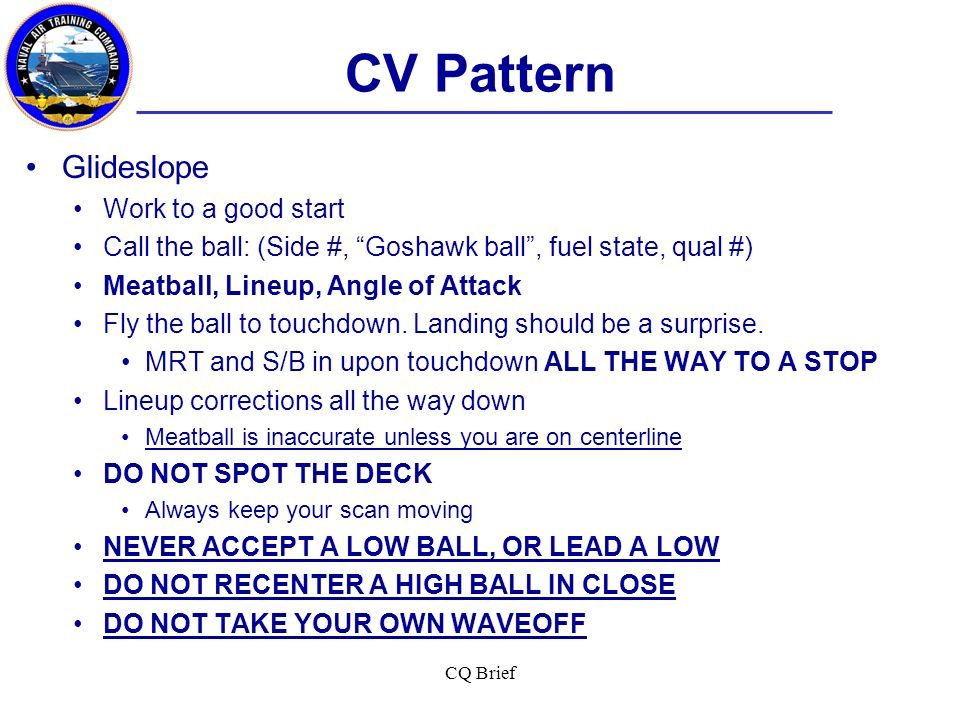CV Pattern Glideslope Work to a good start