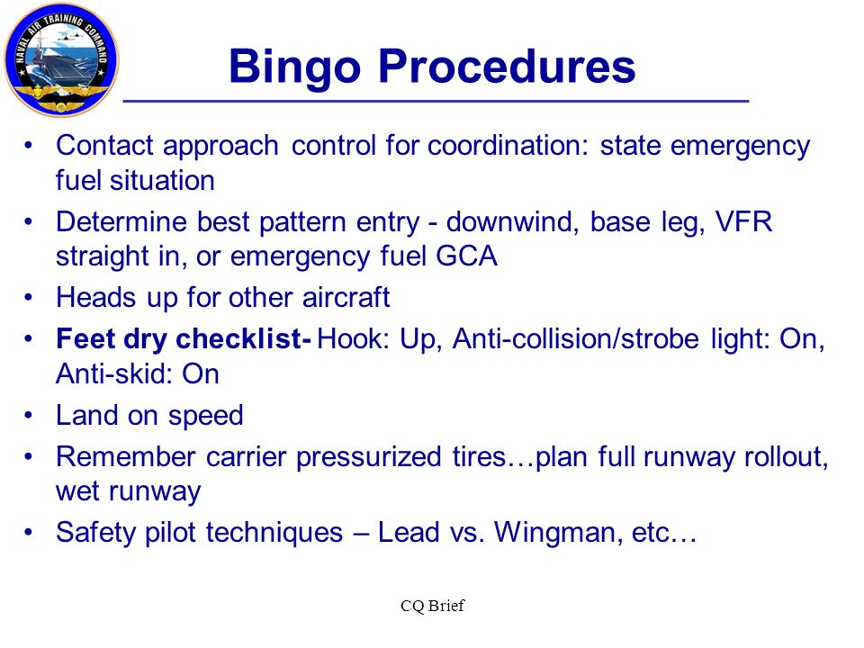 Bingo Procedures Contact approach control for coordination: state emergency fuel situation.