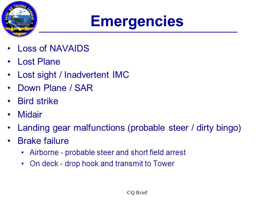 Emergencies Loss of NAVAIDS Lost Plane Lost sight / Inadvertent IMC