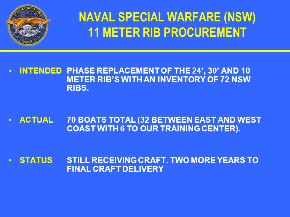 NAVAL SPECIAL WARFARE (NSW) 11 METER RIB PROCUREMENT