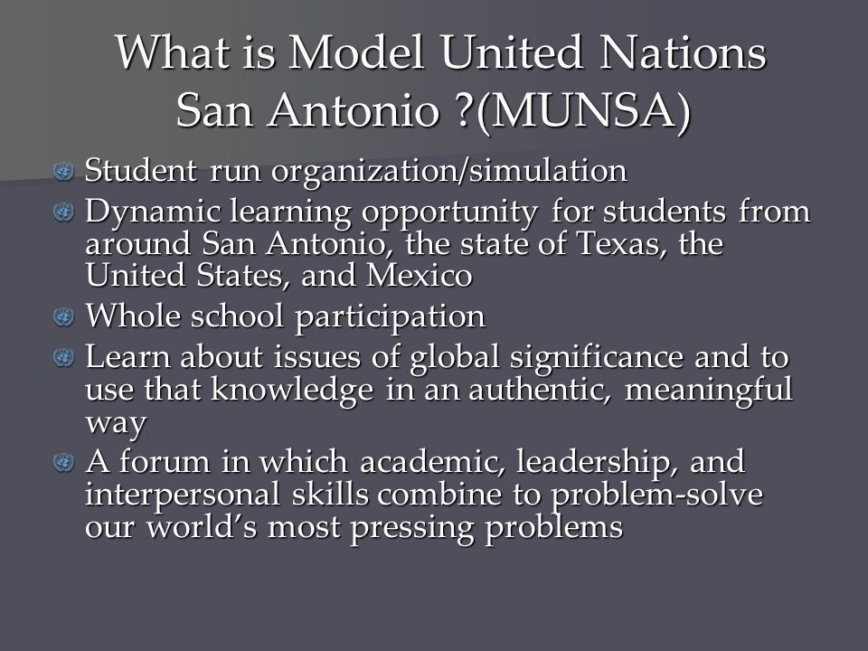 What is Model United Nations San Antonio (MUNSA)