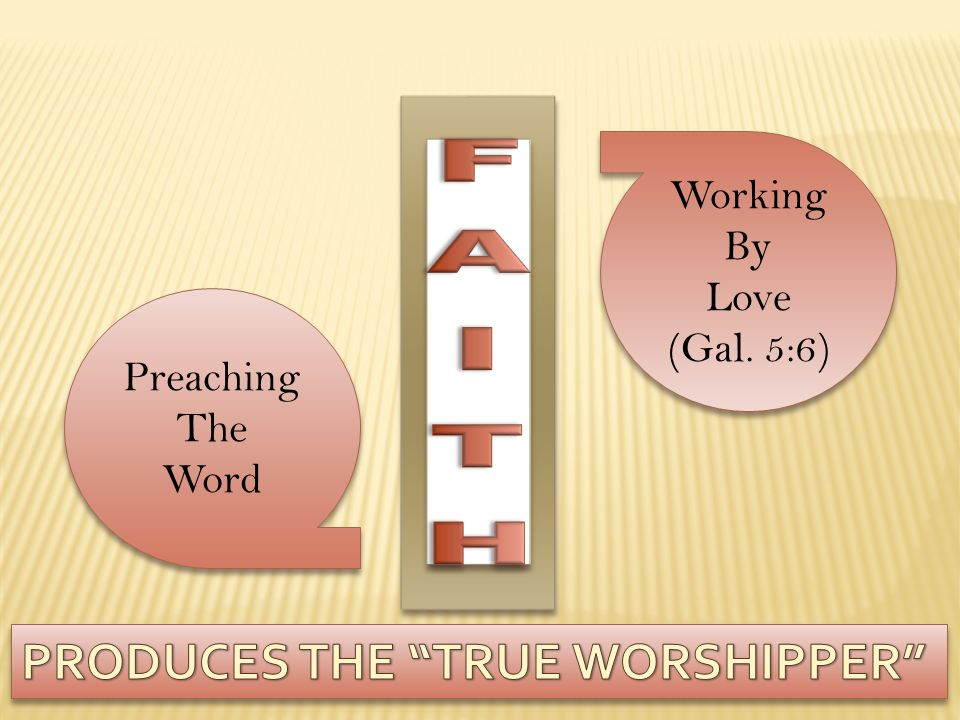 PRODUCES THE TRUE WORSHIPPER