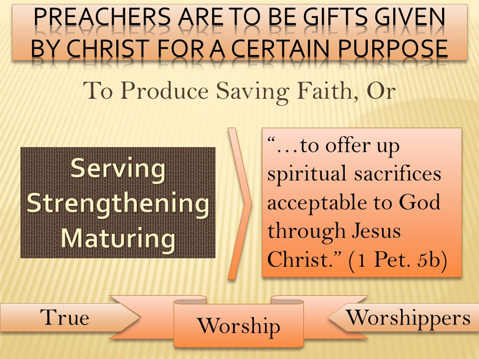 Preachers Are to be Gifts Given By Christ for a certain purpose