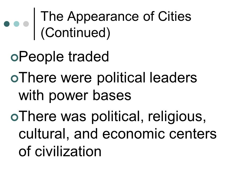 The Appearance of Cities (Continued)