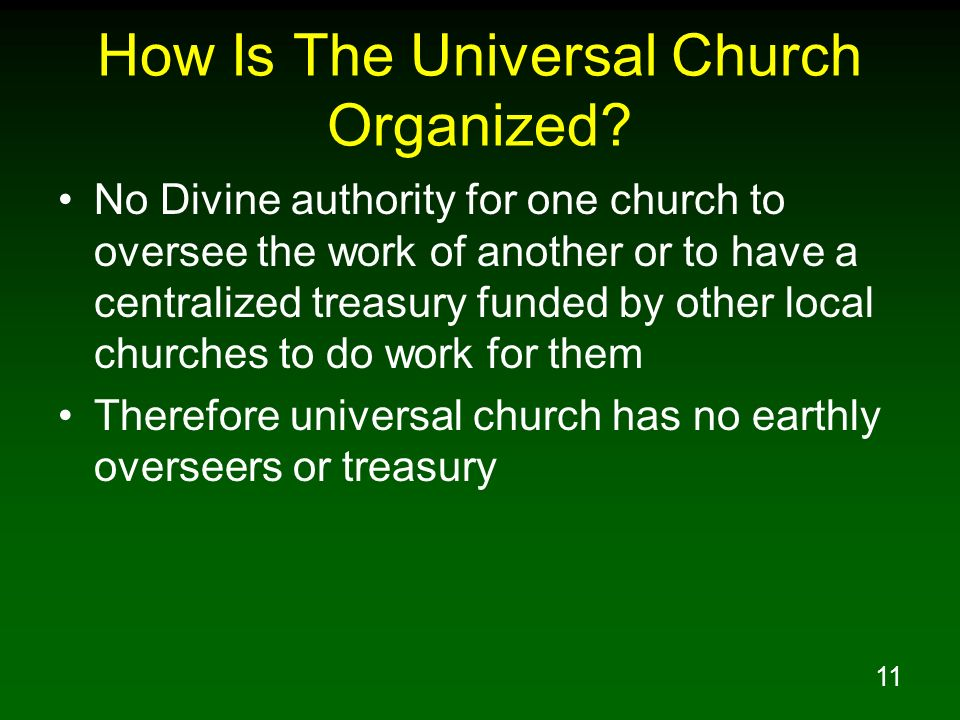 How Is The Universal Church Organized