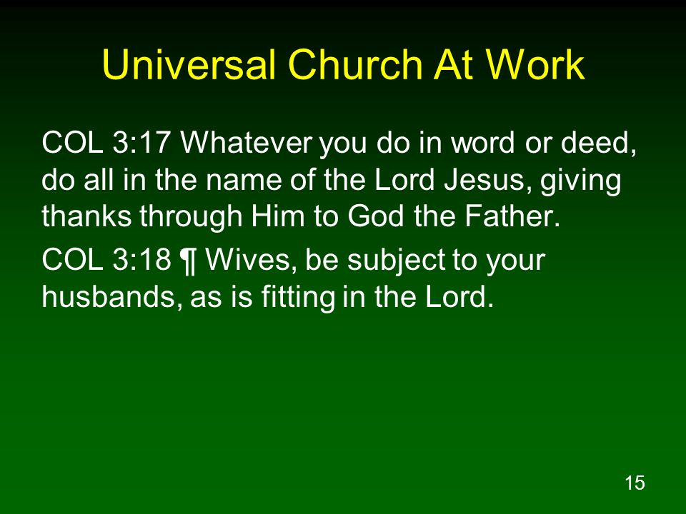 Universal Church At Work
