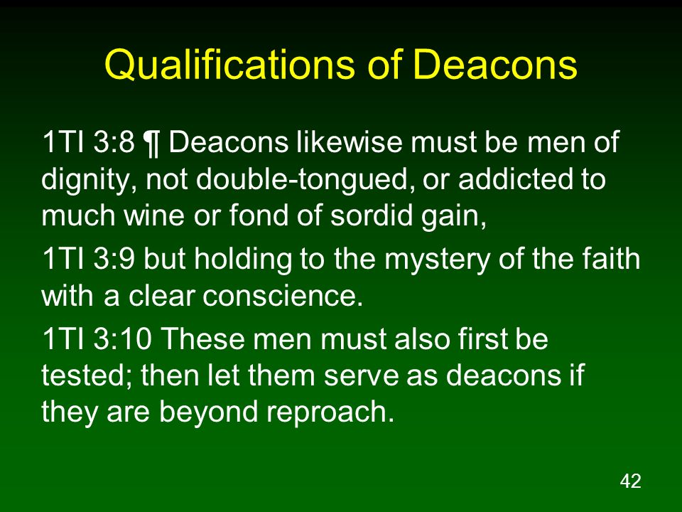 Qualifications of Deacons