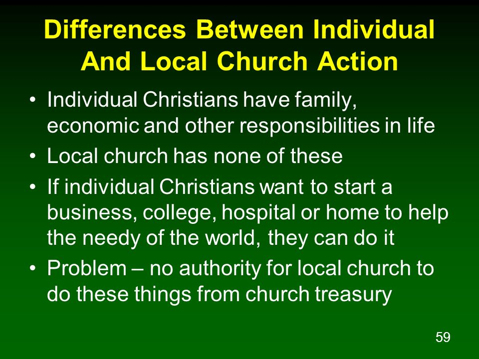 Differences Between Individual And Local Church Action