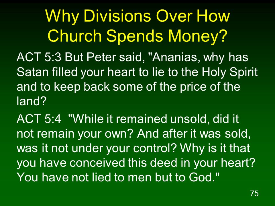 Why Divisions Over How Church Spends Money
