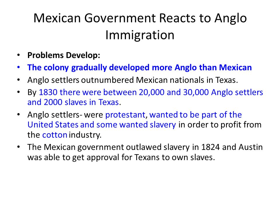 Mexican Government Reacts to Anglo Immigration