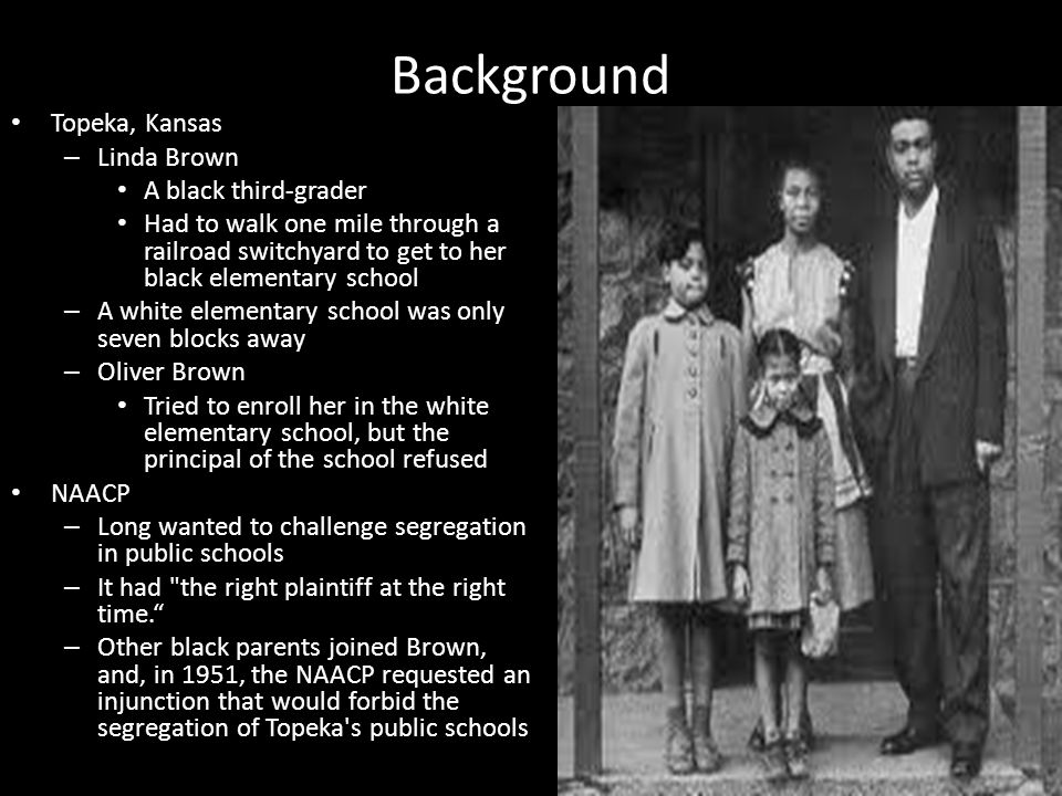 Background Topeka, Kansas Linda Brown A black third-grader