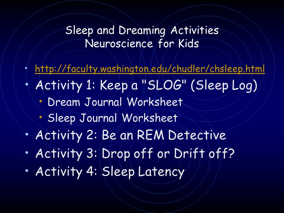 Sleep and Dreaming Activities Neuroscience for Kids