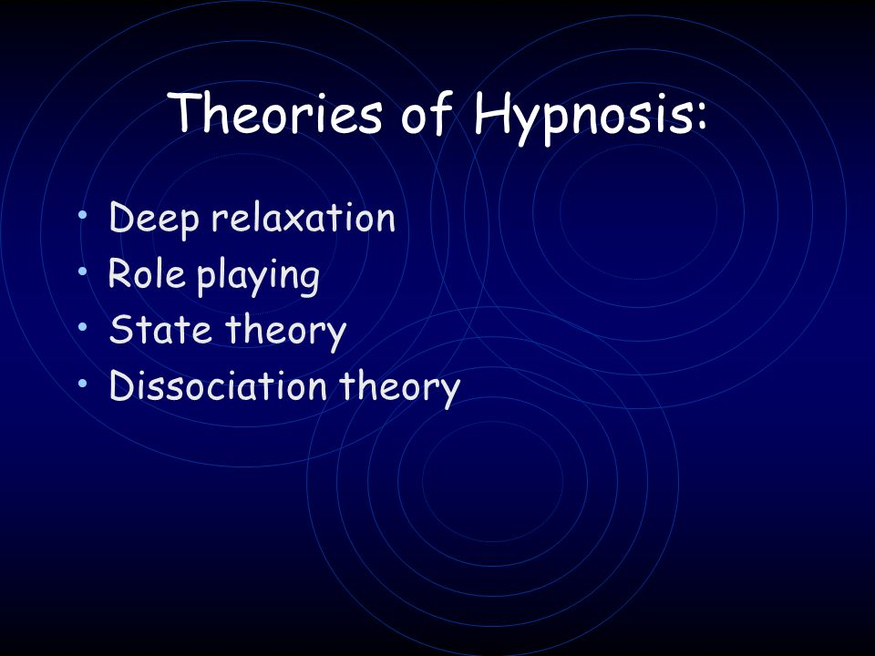Theories of Hypnosis: Deep relaxation Role playing State theory