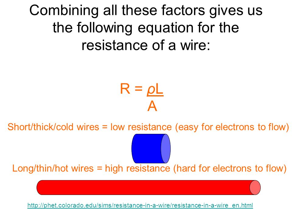 Combining all these factors gives us the following equation for the resistance of a wire: