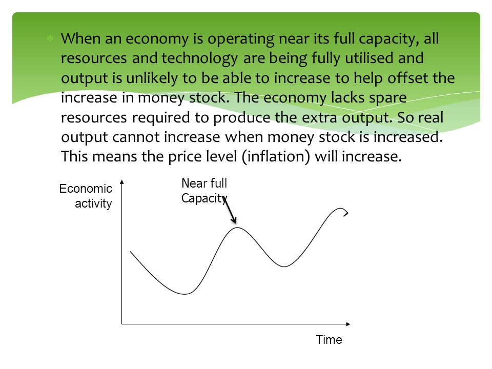When an economy is operating near its full capacity, all resources and technology are being fully utilised and output is unlikely to be able to increase to help offset the increase in money stock. The economy lacks spare resources required to produce the extra output. So real output cannot increase when money stock is increased. This means the price level (inflation) will increase.