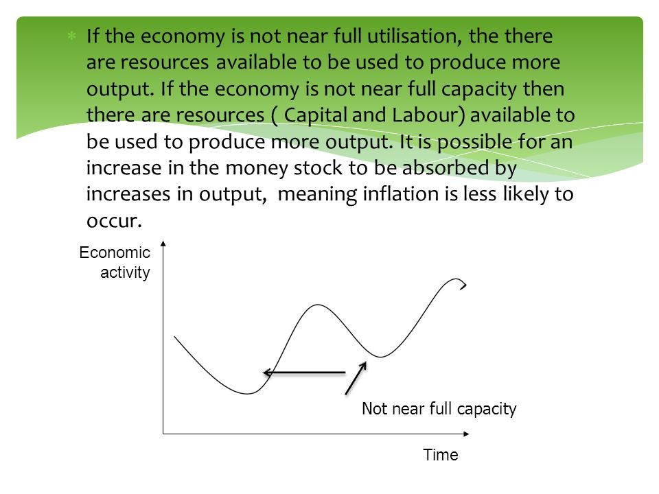 If the economy is not near full utilisation, the there are resources available to be used to produce more output. If the economy is not near full capacity then there are resources ( Capital and Labour) available to be used to produce more output. It is possible for an increase in the money stock to be absorbed by increases in output, meaning inflation is less likely to occur.